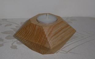 Świecznik geometryczny dębowy - lite drewno woskowane