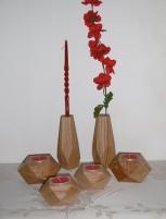 Świeczniki geometryczne dębowe - lite drewno woskowane