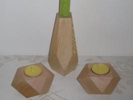 Świecznik geometryczny duży sosnowy, świeczniki małe bukowe - lite drewno woskowane