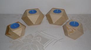 Świeczniki geometryczne sosnowe - lite drewno woskowane