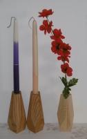 Świeczniki geometryczne dębowe i sosnowe - lite drewno woskowane