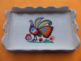 Biała taca z ptakiem - ręcznie malowana
